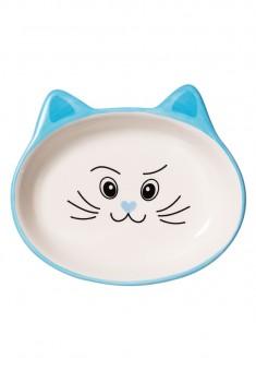 Миска для кошки голубая