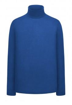 Trikotāžas džemperis ar augstu apkakli vīrietim spilgti zilā krāsā