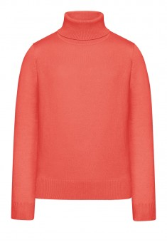 Girls High Collar Knit Jumper peach pink