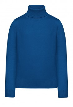 Girls High Collar Knit Jumper bright blue