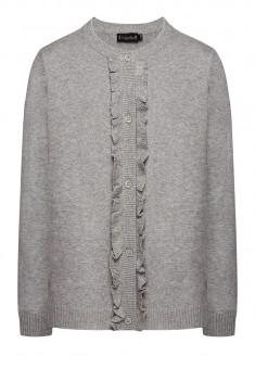 Girls Ruched Knit Cardigan light grey melange