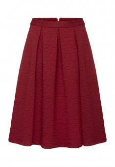 Quilted Flared Skirt burgundy