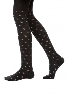 FloralPatterned Elastic Tights for children 100 den grey