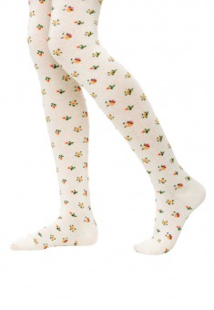 FloralPatterned Elastic Tights for children 100 den vanilla