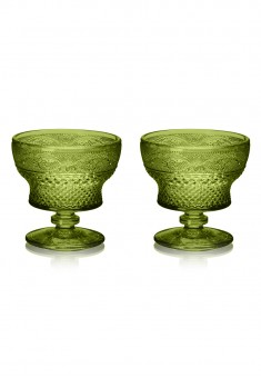 Glass Dessert Bowl 2 pcs set emerald