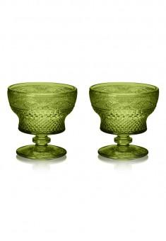 Креманка стеклянная набор 2 шт цвет изумруд
