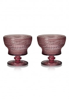 Glass Dessert Bowl 2 pcs set amethyst