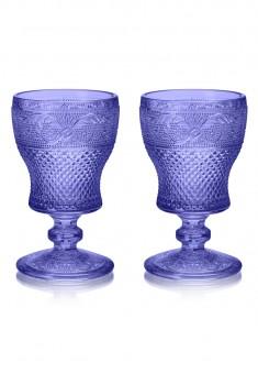 Бокал стеклянный набор 2 шт цвет сапфир