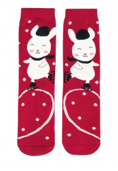 New Yearstyle Penguin Socks in a Christmas ball red