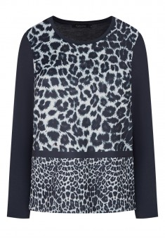 Leopard Print Blouse dark blue