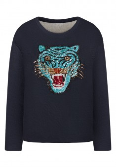 Paillette Sweatshirt dark blue