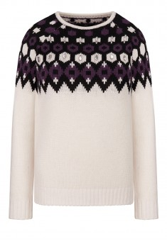 Sequined Jacquard Knit Jumper white