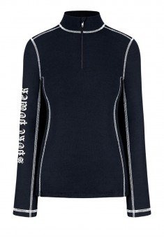 Zipped Neck Jumper blue