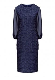 Платье из фактурного трикотажа цвет темносиний