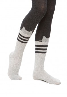 CatPatterned Kids Tights 100 den grey