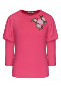 Shortened Sleeves Jersey Jumper fuschia