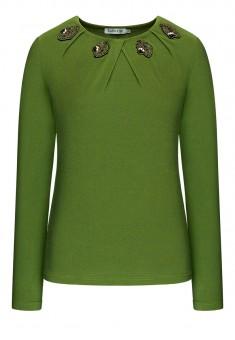 Трикотажная блузка с длинным рукавом цвет зелёный