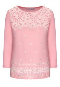 Трикотажный джемпер с укороченным рукавом цвет розовый