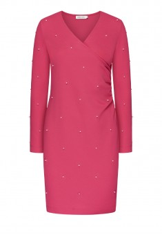 Long Sleeve Jersey Dress fuschia