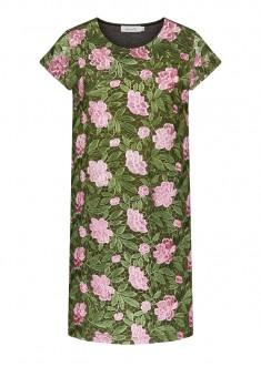 Трикотажное платье с коротким рукавом мультицвет