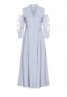 Shortened Sleeves Dress blue