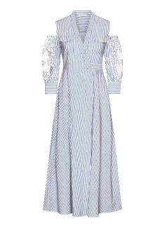 Платье с укороченным рукавом цвет голубой
