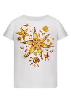 Dzianinowa koszulka z krótkim rękawem dla dziewczynki kolor biały