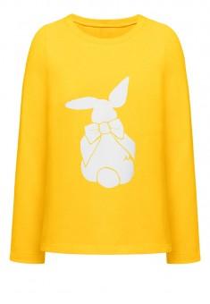 Футболка с длинным рукавом для девочки цвет жёлтый