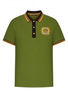 Lekki dzianinowy sweter męski z kołnierzykiem polo kolor zielony