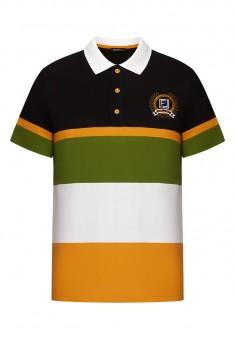 Lekki dzianinowy sweter męski z kołnierzykiem polo multicolor
