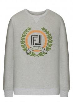 Dzianinowy sweter męski z długim rękawem kolor jasnoszary melanż