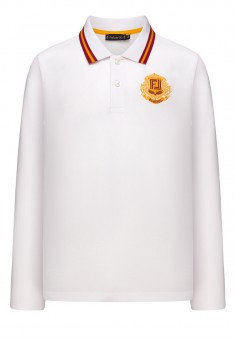 Boys Light Jersey Polo Jumper with Long Sleeves white