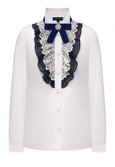 Блузка с декоративными элементами для девочки цвет белый