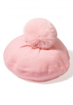 Берет с помпоном для девочки цвет розовый