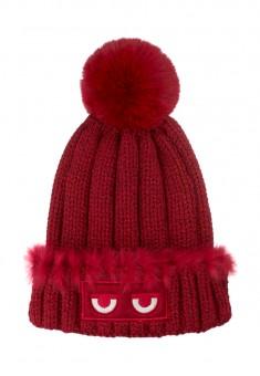 Girls Pompom Hat burgundy