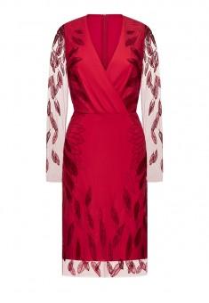Платье с вышивкой цвет ягодный
