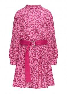 Платье из вискозы с принтом и поясом для девочки цвет фуксия