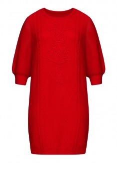 Cropped Sleeve Jersey Dress red