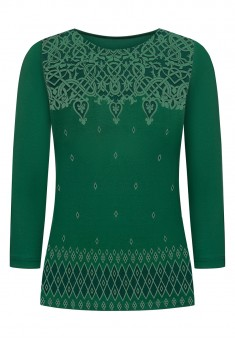 Cropped Sleeve Jersey Jumper emerald