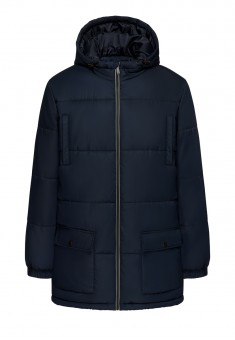 Mens Insulated Hooded Quilt Coat dark blue