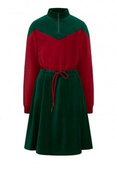 Двухцветное платье из велюра для девочки цвет тёмнозелёный