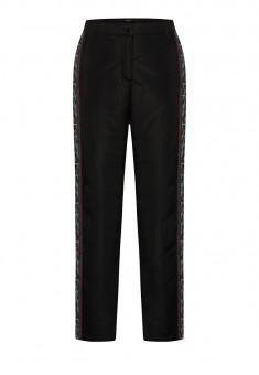 Утеплённые брюки с тесьмой для девочки цвет чёрный