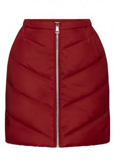 Утеплённая стёганая юбка для девочки цвет тёмнокрасный