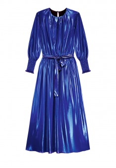 Long Metallic Coated Knit Dress blue
