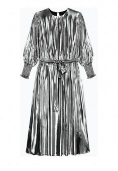 Long Metallic Coated Knit Dress silver