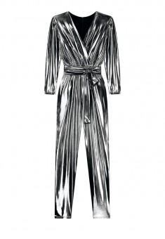 Metallic Coated Knit Jumpsuit