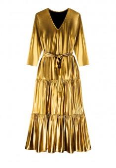 Long Metallic Coated Knit Dress gold