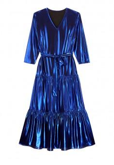 Длинное трикотажное платье с блестящим напылением цвет синий