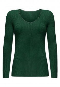 Textured Jersey Jumper emerald