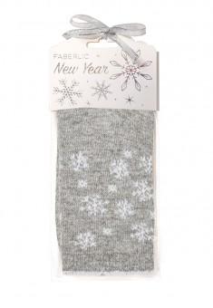 Носки из шерсти в новогодней упаковке Снежинки серые